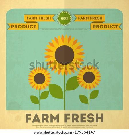 farm organic food poster retro