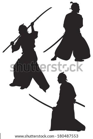samurai silhouettes  japanese
