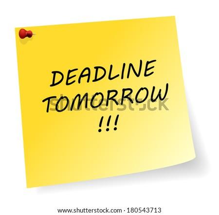 yellow sticker with deadline