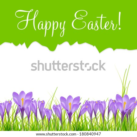 happy easter card with crocuses