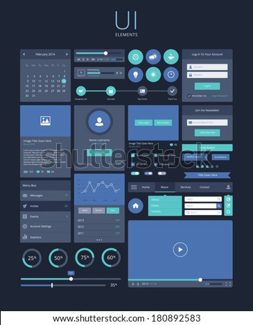 ui flat design elements  modern