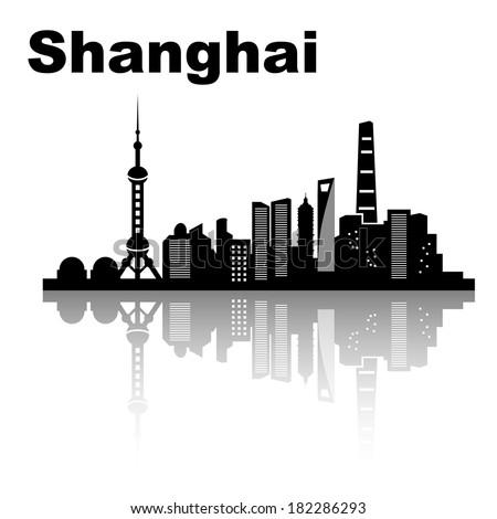shanghai skyline   black and