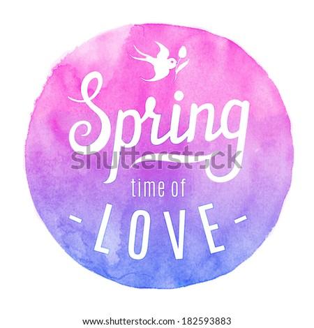 spring circle watercolor label