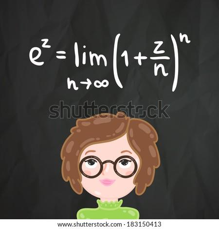 cute cartoon smart girl and