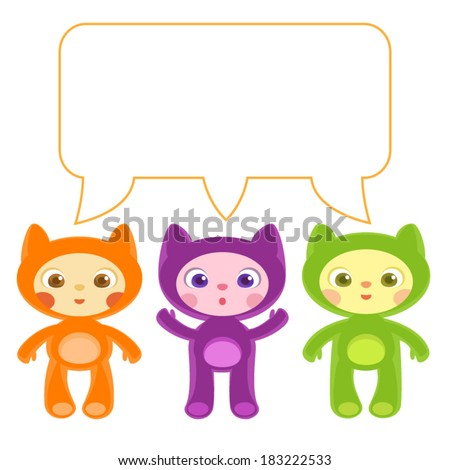 children on cat costumes vector