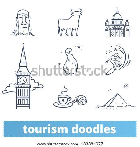 tourism doodles  hand drawn