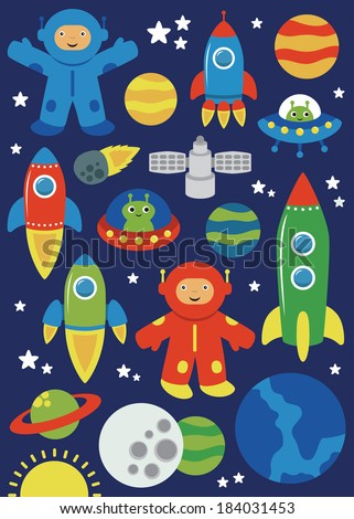 cute space objects set vector