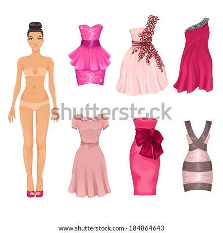 vector dress up doll with an