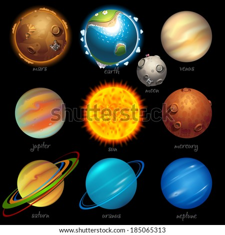 solar system icons set of