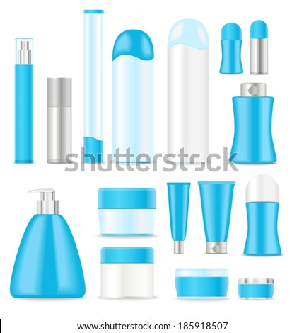 blue blank cosmetic tubes on