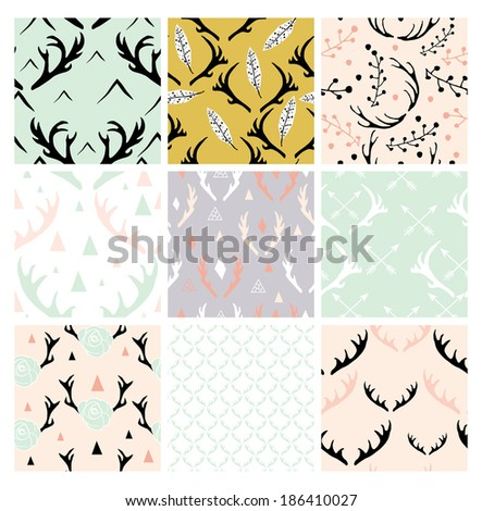 seamless antlers pattern