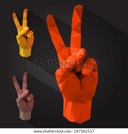 polygonal style victory sign on