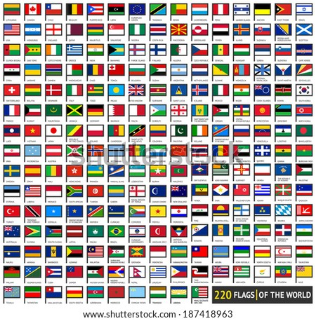 220 flags of world  flat icons
