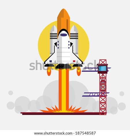 Cartoon Space Shuttle Launch Space Shuttle Launching