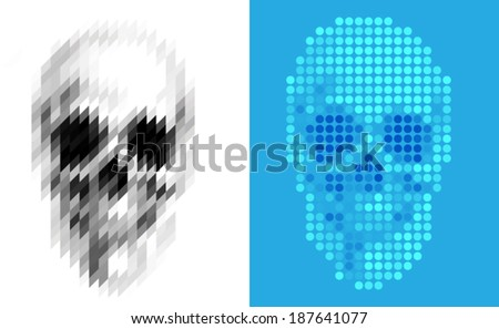 geometric skull two face
