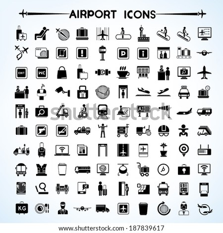 airport icon set  airport