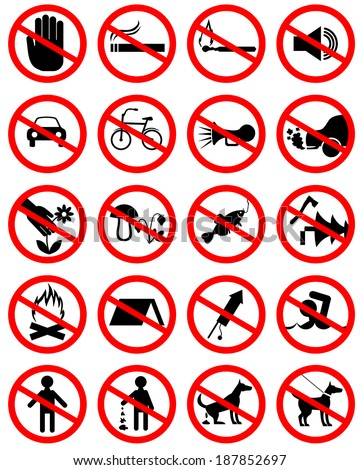 set of icons with prohibiting