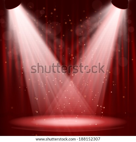 empty stage with lights on red