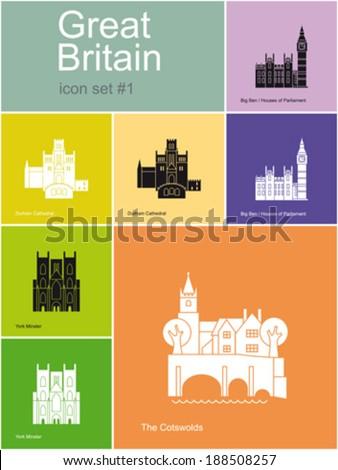 landmarks of great britain set