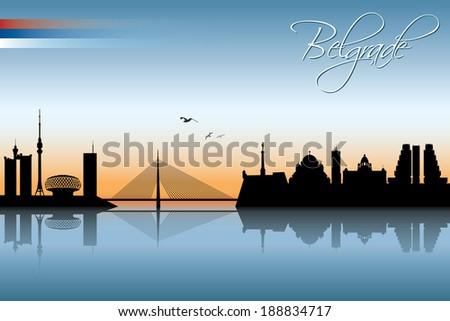 belgrade skyline   vector