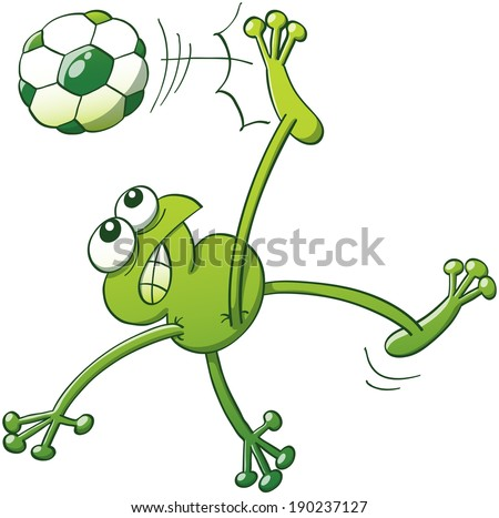 green frog jumping  throwing
