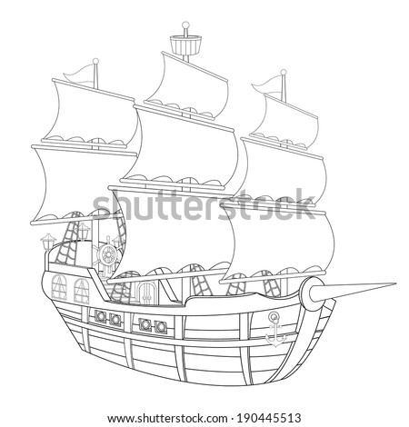 the coloring page  pirate ship