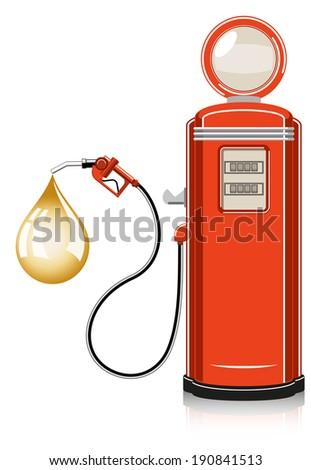 retro gas pump on white