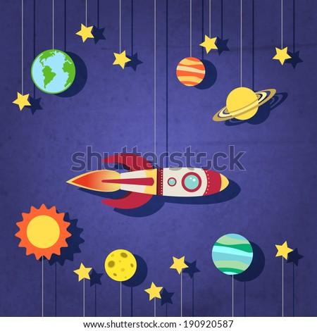 paper rocket planets sun moon