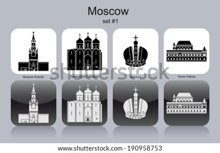 landmarks of moscow set of