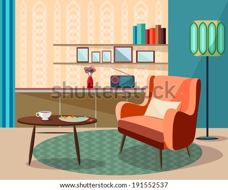 vector vintage room  retro