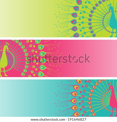 set of 3 colorful traditional