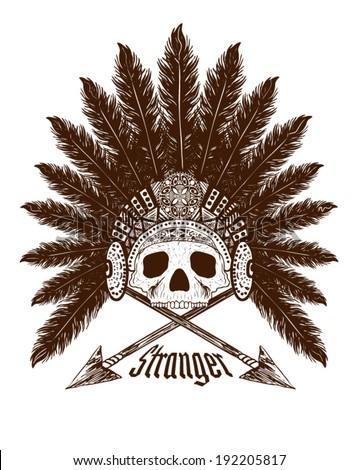 skull vector   american indian