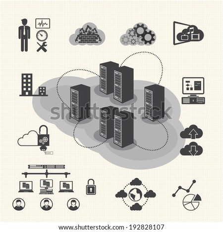 big data icons set  cloud