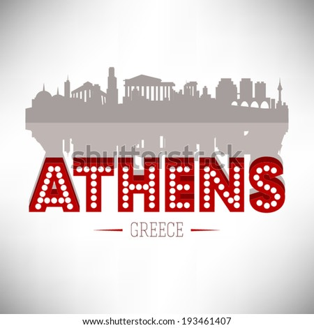 athens greece skyline vector