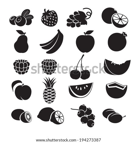 black and white icons   fruits