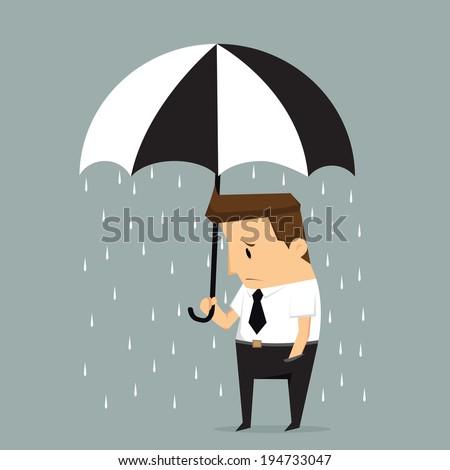 unlucky businessman being wet