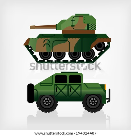 battle tank and armored car