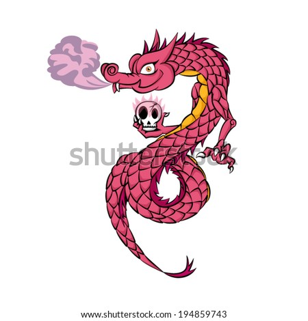 pink chinese dragon with skull