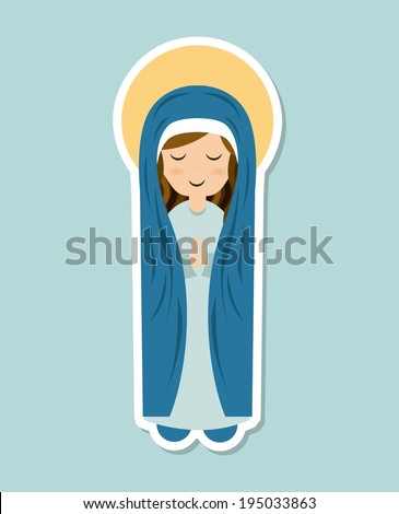 holy mary design over blue