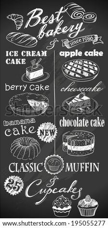 hand drawn desserts on