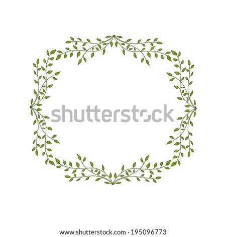vector floral frame with green