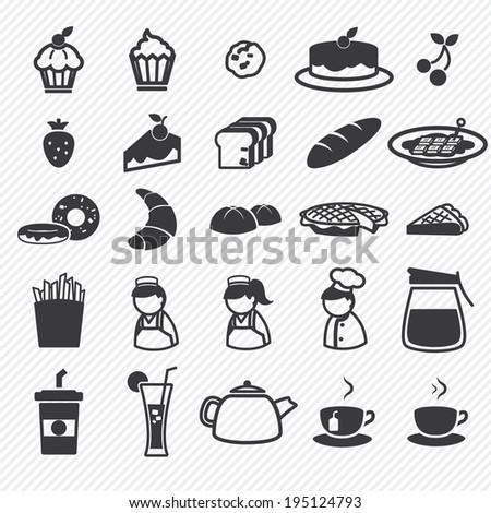 bakery icons set illustration