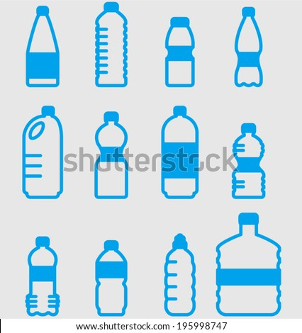 vector plastic bottles set