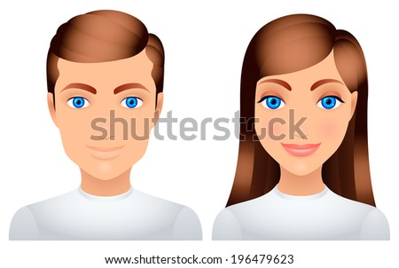 cartoon man and woman in white