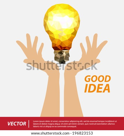 polygon light bulb and hands