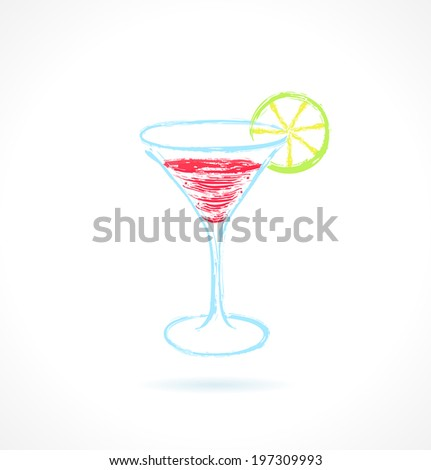 red cocktail with lime ink