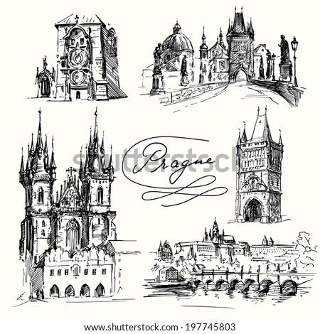 prague   hand drawn collection