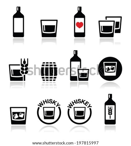 whisky or whiskey alcohol icons