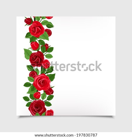 vector card with red roses eps