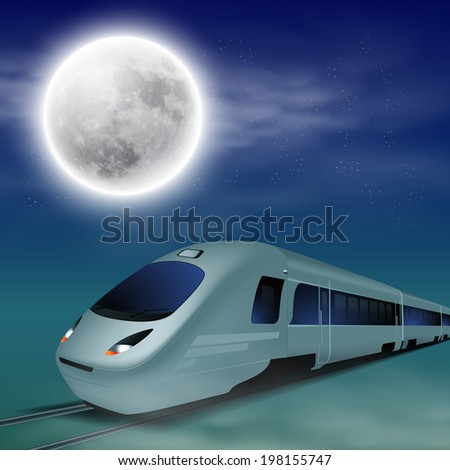 high speed train at night with